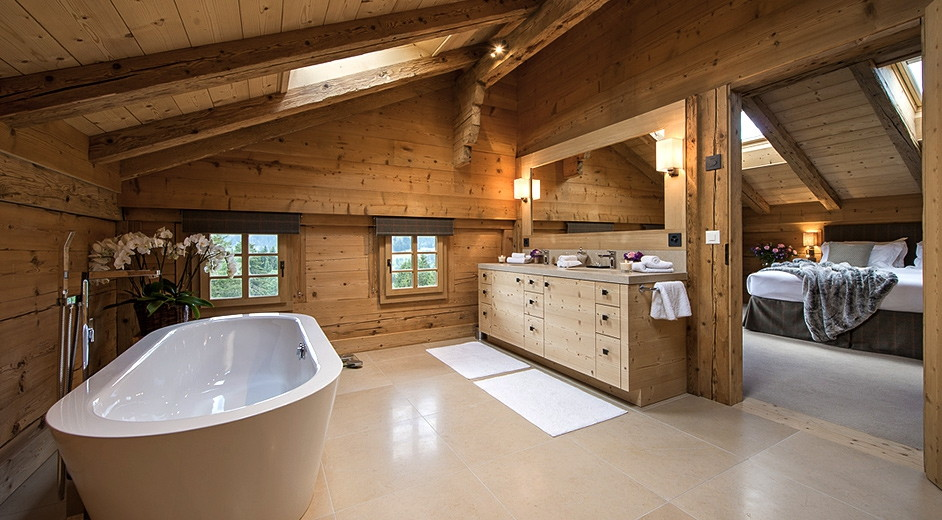 modern rustic luxury chalet rental near gstaad with outdoor hot tub
