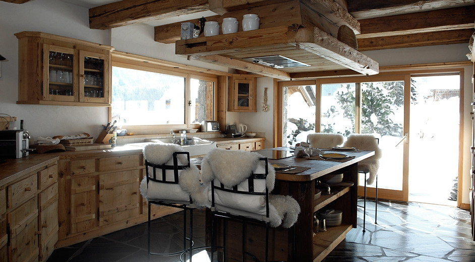 5 star modern rustic chalet for rent in champ ry for large for Chalet kitchen designs