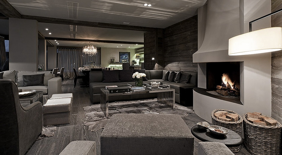 Luxury 5 ski chalet rental in verbier for large groups for W living room verbier