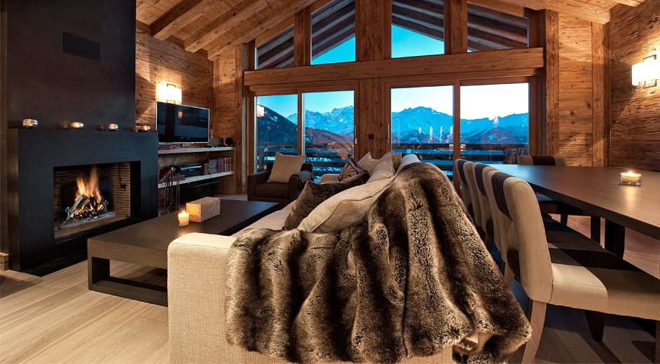 ski in ski out chalet rental in verbier with fireplace and scenic view
